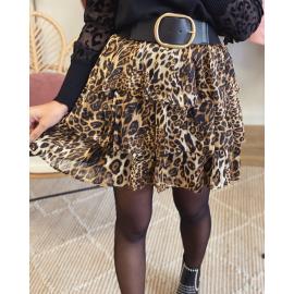 Jupe courte à volants - Leopard