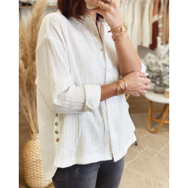 Chemise gaze de coton à pois dorés asymétrique - Agnès