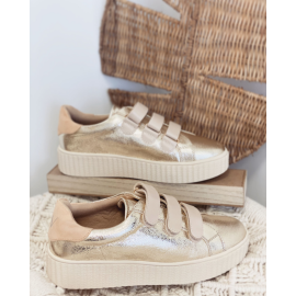 Vanessa Wu - Baskets or et nude à semelle creepers