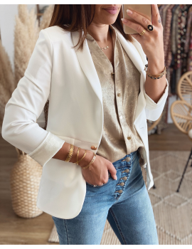 Veste Loumi revers manches irisé - Blanche (made in france)