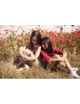 Chemisier fleuri rouge à nouer - Mini Jen