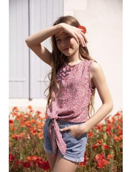 Chemisier fleuri rose à nouer - Mini Lisa