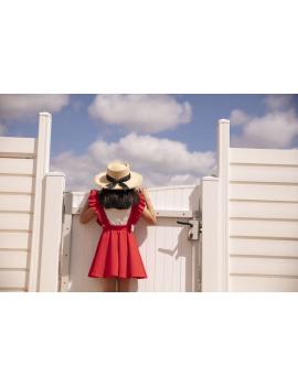 Jupe rouge avec bretelles à volants - Mini Sara