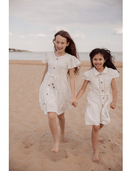 Robe blanche à boutons bois - Mini Téa