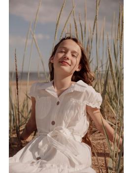 Robe chemise boutonnée écru - Mini Soline
