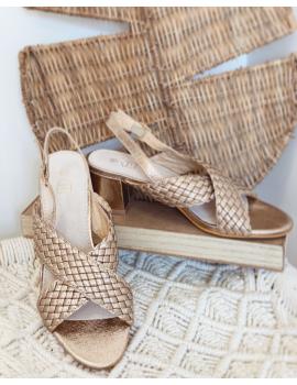 Sandales dorées à talons brides tressées - Suzy