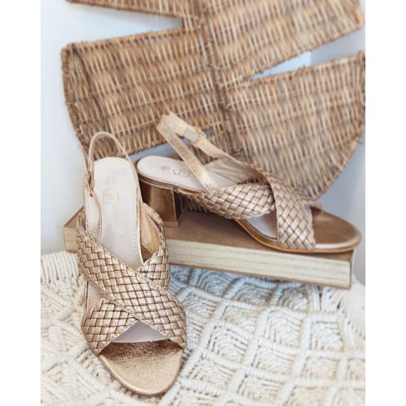 Sandales dorées à talons brides tressées Suzy