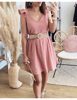 Robe en gaze de coton rose - Soa