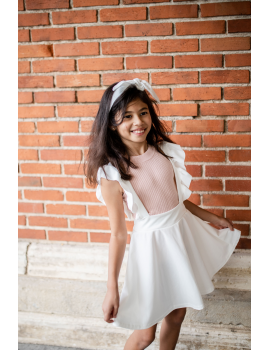 Jupe blanche avec bretelles à volants - Mini Sara