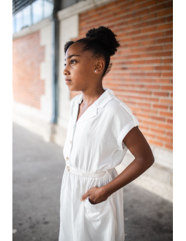 Robe blanche boutonnée - Koline