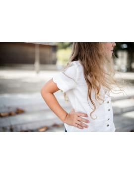 Blouse blanche boutonnée gaze de coton - Mini Aurélia