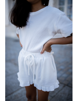 Ensemble short et T-shirt blanc - Mini Bonsoir