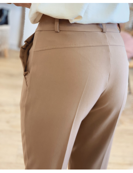 Pantalon tailleur Camel - Julie (Made in France)