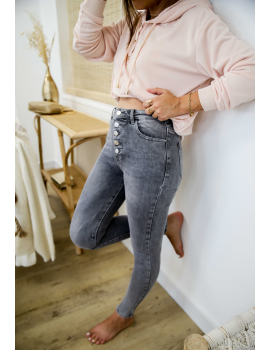 Jean slim stretch boutonnée gris - Lary