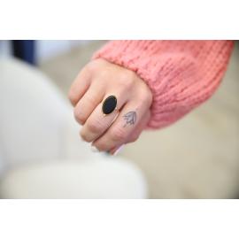 Bague acier pierre noire - Wonder
