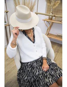 Gilet doudou boutons bijoux Blanc - Sohan