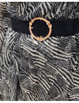 Ceinture élastique noire boucle doré noeuds