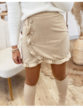 Jupe en velours côtelé beige - Rosine