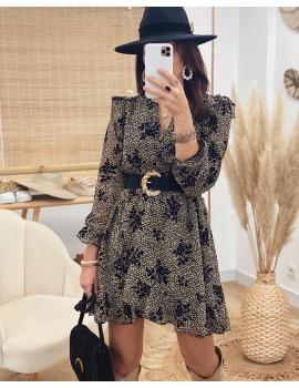 Robe à fleurs velours  - Camille