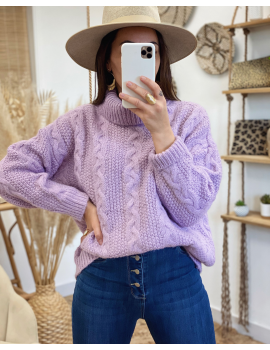 Pull grosse maille lilas - Paulin