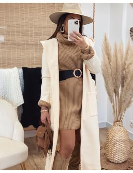Manteau long à capuche beige clair - Charlyne