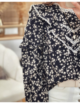 Blouse noire fleurie - Yasmine