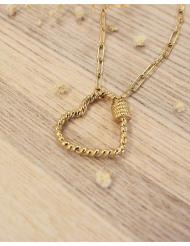 Collier coeur en mailles