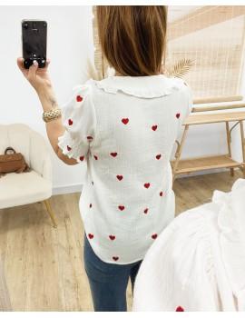 Chemise à coeurs brodés - Valentine