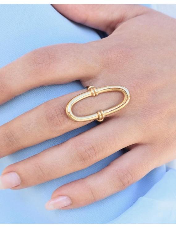 Bague ovale dorée