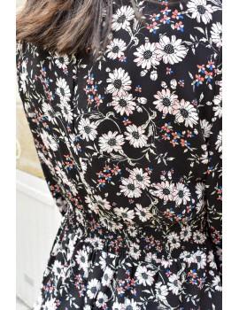 Combishort noire à fleurs - Clarisse