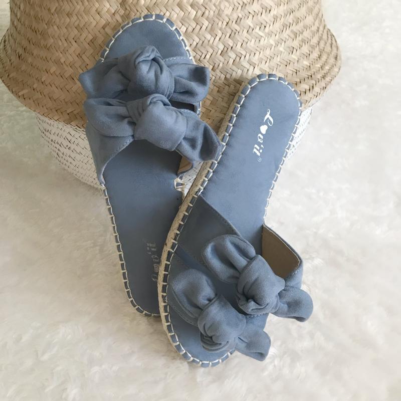 707ca5048a34c Sandales suédine avec noeud - Bleu - MONLOOK
