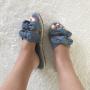 Sandales suédine avec noeud - Bleu