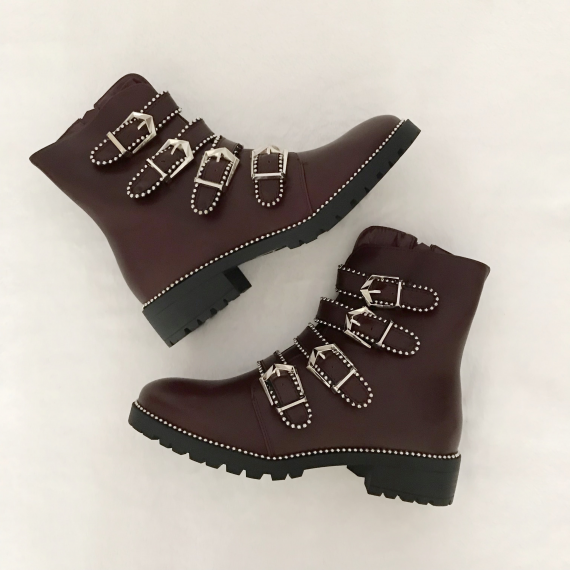 Boots à sangles cloutées - Bordeaux