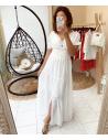 New - Robe longue blanche à motifs texturés