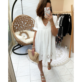 Robe combi Broderie blanche