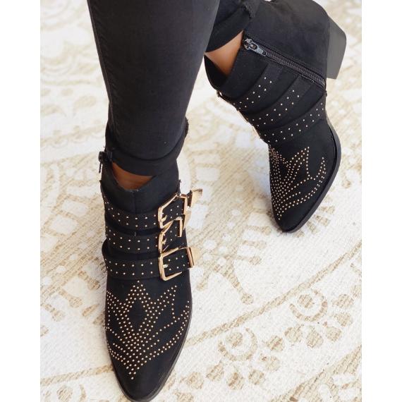 couleurs et frappant dernière mode meilleure valeur Vanessa Wu - Bottines en suédine à boucles dorées - Noir