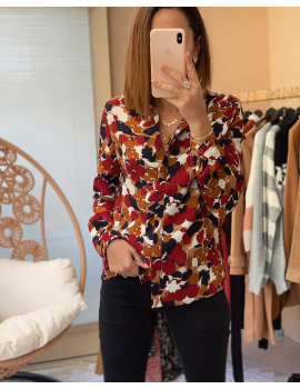 Chemise à fleurs bordeaux/camel