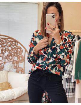 Chemise à fleurs vert sapin